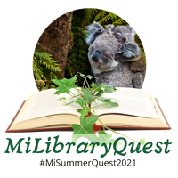 milibraryquest logo with koalas, an open book, and the #milibraryquest2021